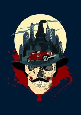 Men skull against night city, bootlegger design.
