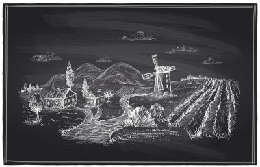 Rural landscape, windmill and vineyard chalk.