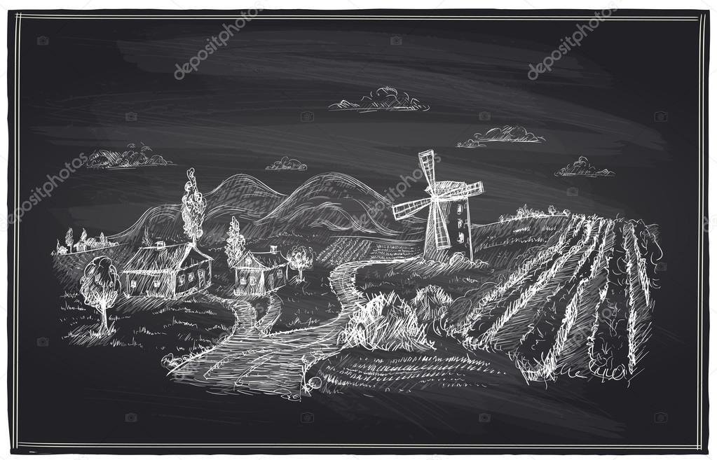 Rural landscape, windmill and vineyard chalk.
