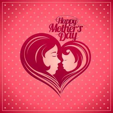 Happy Mother's Day card with mother and child silhouette.