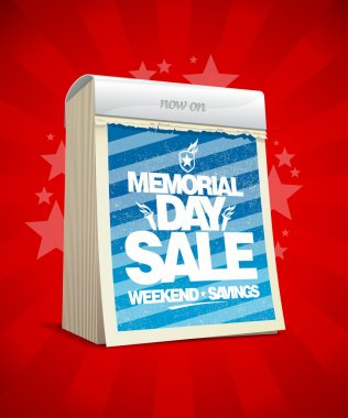 Memorial day sale design in form of calendar.
