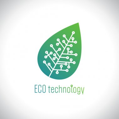 Eco technology logo with leaf of the tree with a chip.