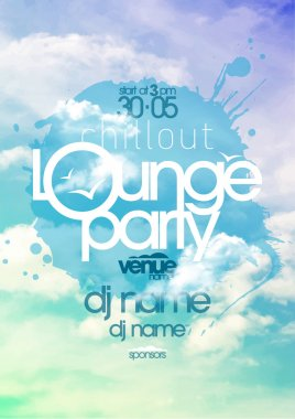 Chillout lounge party poster with sky backdrop.
