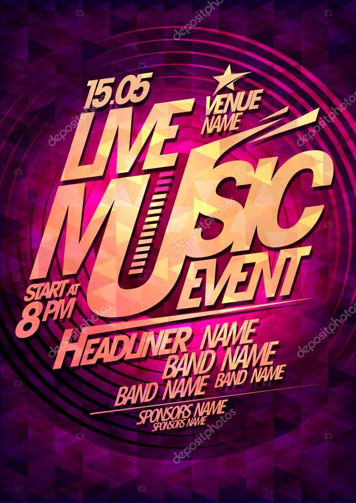 Live music event design with place for text.
