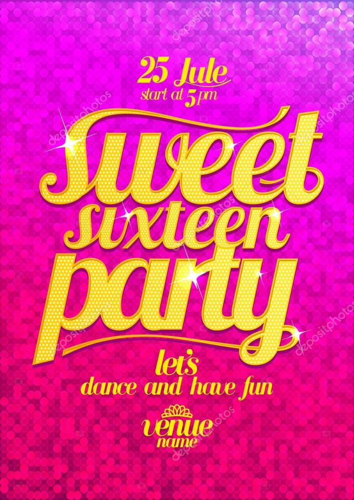 Sweet sixteen party fashion pink poster with gold letters.