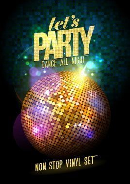 Lets party design with gold disco ball. stock vector