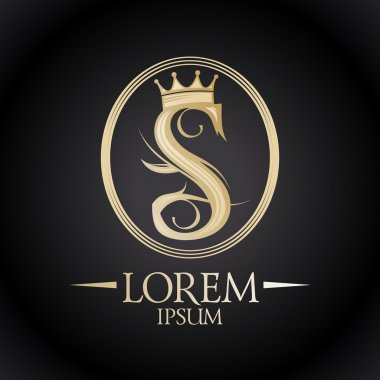 Gold letter S logotype with crown.