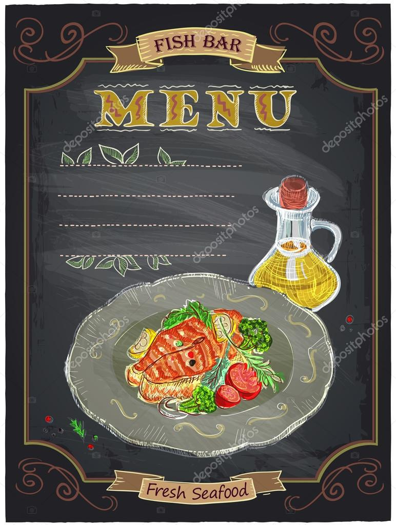 Fish Bar Menu Sign With Grilled Salmon Steak On A Plate Chalkboard