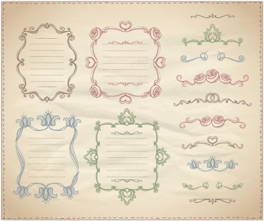 Hand drawn floral retro frames and line dividers collection
