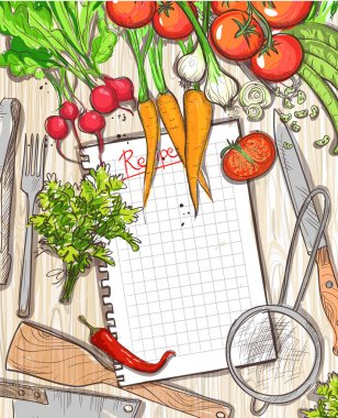 Empty recipe list frame with healthy organic vegetables and kitchen utensil