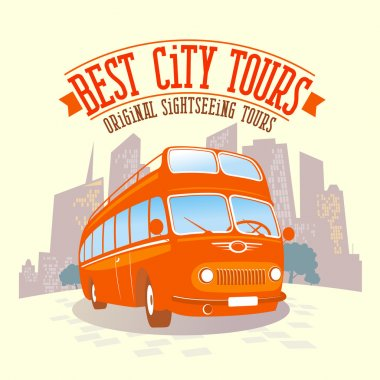 Best city tours poster with retro bus