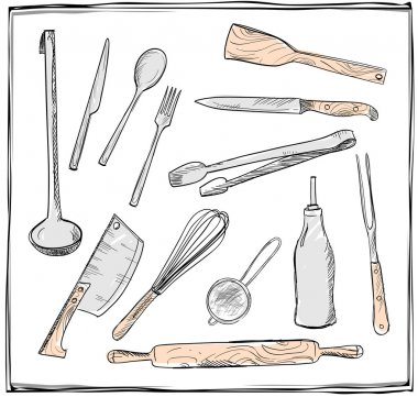Hand drawn set of kitchen utensils graphic symbols.