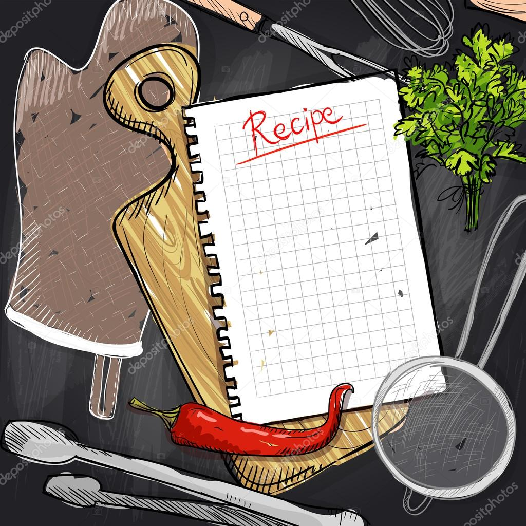 Tafel-Design mit Schneiden Board und Küche Utensil und Rezept-Liste ...