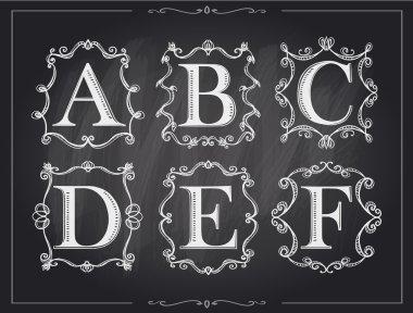 Blackboard chalk vintage calligraphic letters in monogram retro frames, alphabet logos