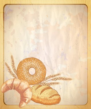 Old paper backdrop with empty place for text and illustration of assorted pastry.