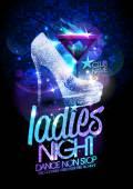 Ladies night plakát ilustrace s krystaly boty vysoké podpatky diamant