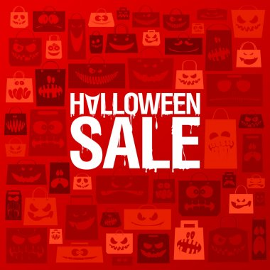 Halloween sale banner against scary paper bags.