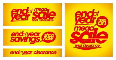 End of year sale yellow banners.