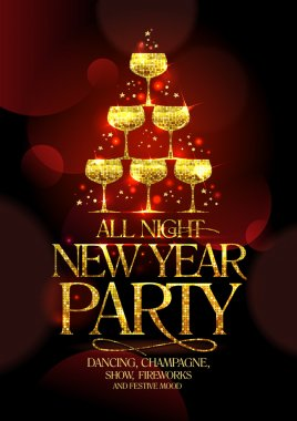 All night New Year party poster with chic golden headline and golden stack of champagne glasses.