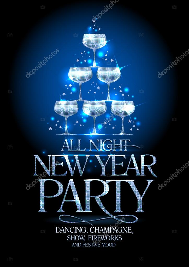 New Year party poster with silver stack of champagne glasses, decorated sparkling stars.