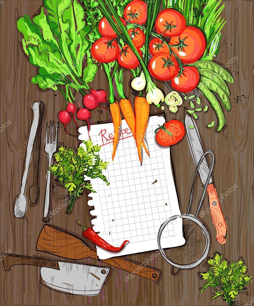 Gesunde Bio-Gemüse und Küchenutensilien auf einem Holztisch ...