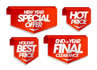 New year special offer, hot price, holiday best price, end of year final clearance sale tags.