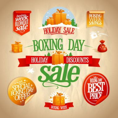 Boxing day sale signs, designs, banners, stickers and coupons.