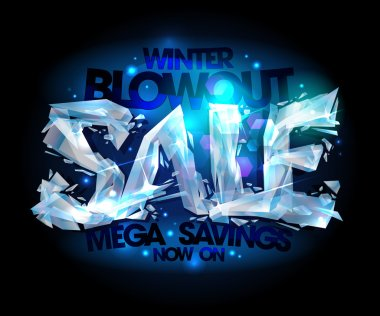 Winter blowout sale design made of broken icy pieces.