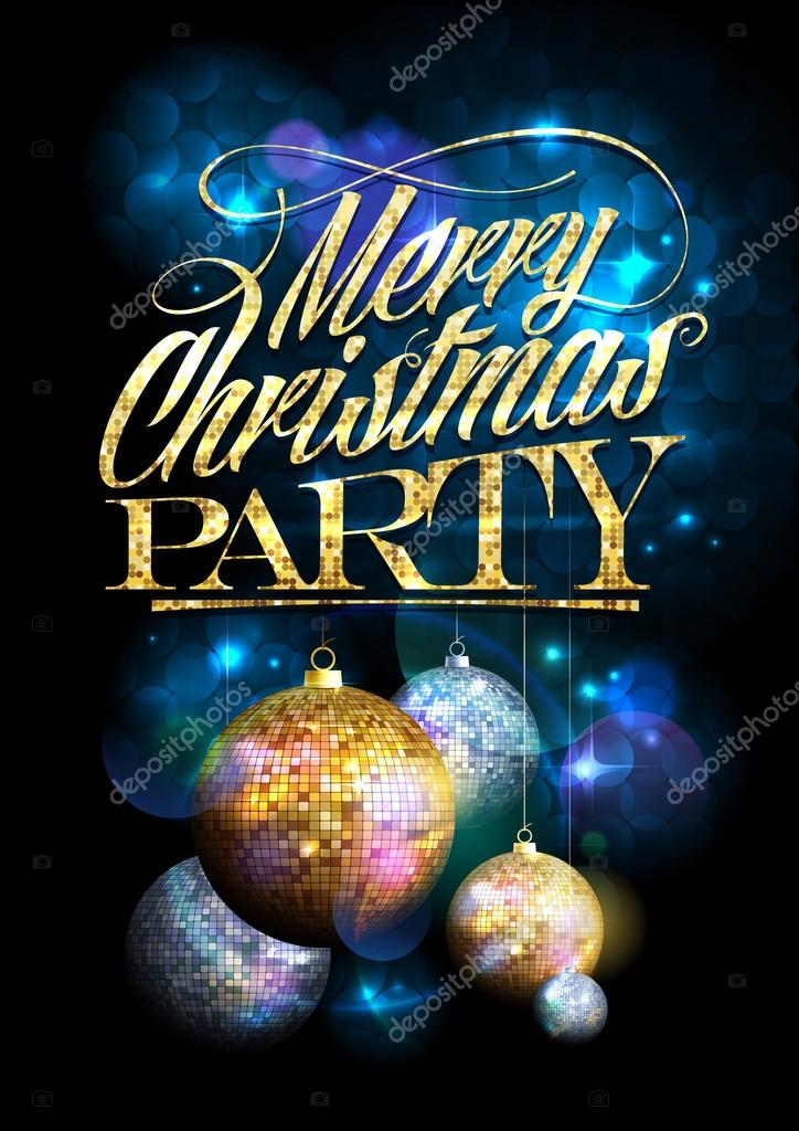 Merry Christmas party design with fur tree golden and silver balls.