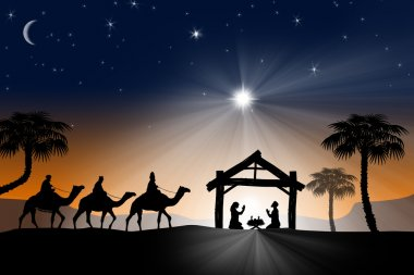 Traditional Christian Christmas Nativity scene with the three wise men.