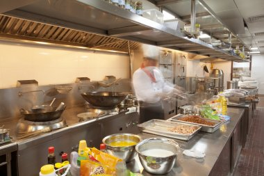 Chef cooking at commercial kitchen - hot job!