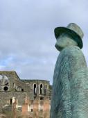 Sculpture from the artist Jean-Michel Folon in the Abbey of Villers-La-Ville, Belgium
