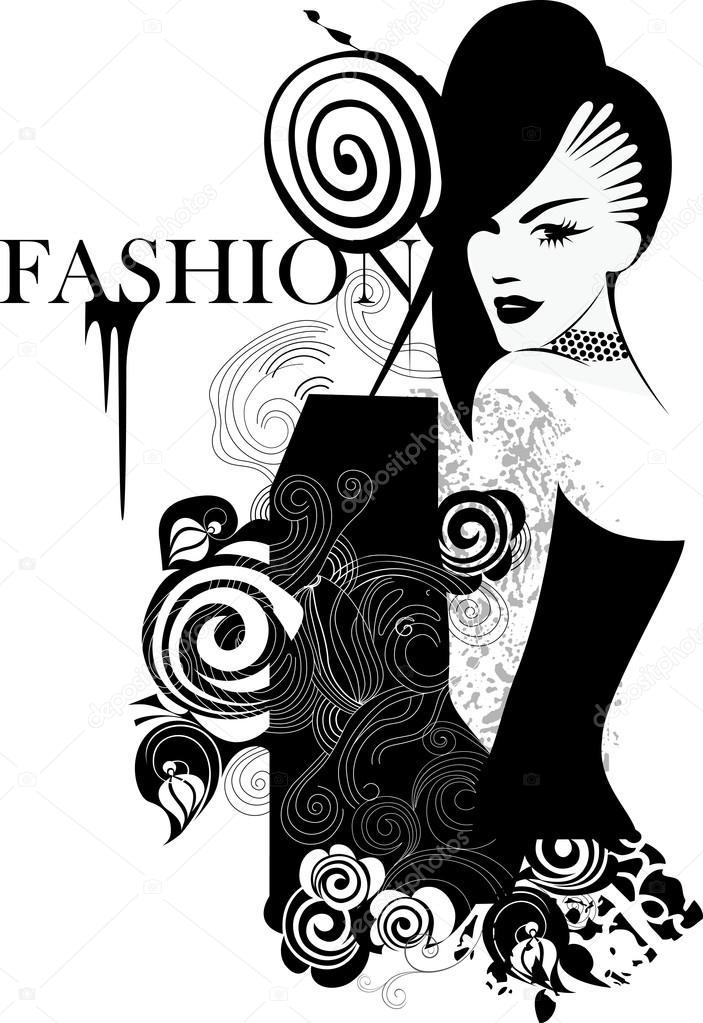 Dessin De Jeune Fille Fashion Noir Et Blanc Image