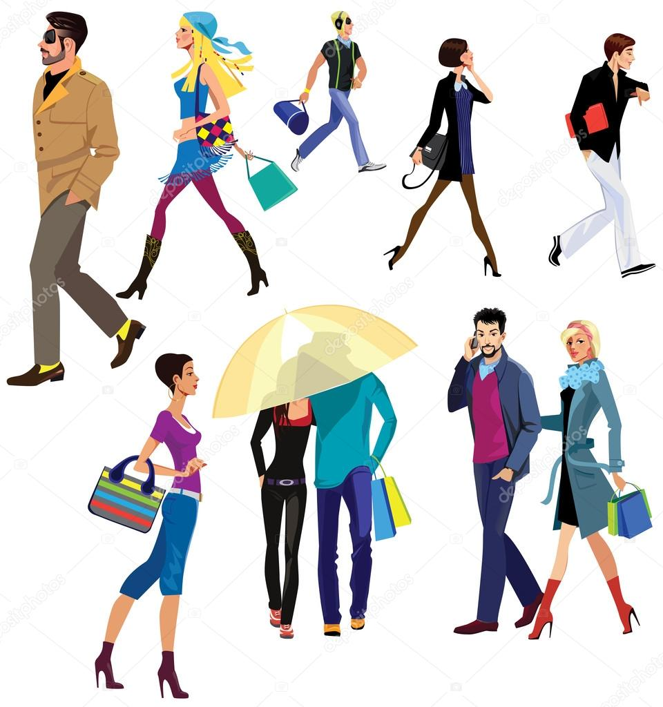 People walking — Stock Vector © filitova #52198601