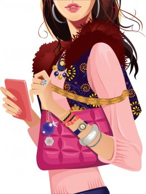 Fashionable girl in waistcoat with pink bag