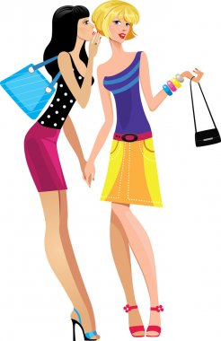 Two girls in bright dresses gossip clip art vector