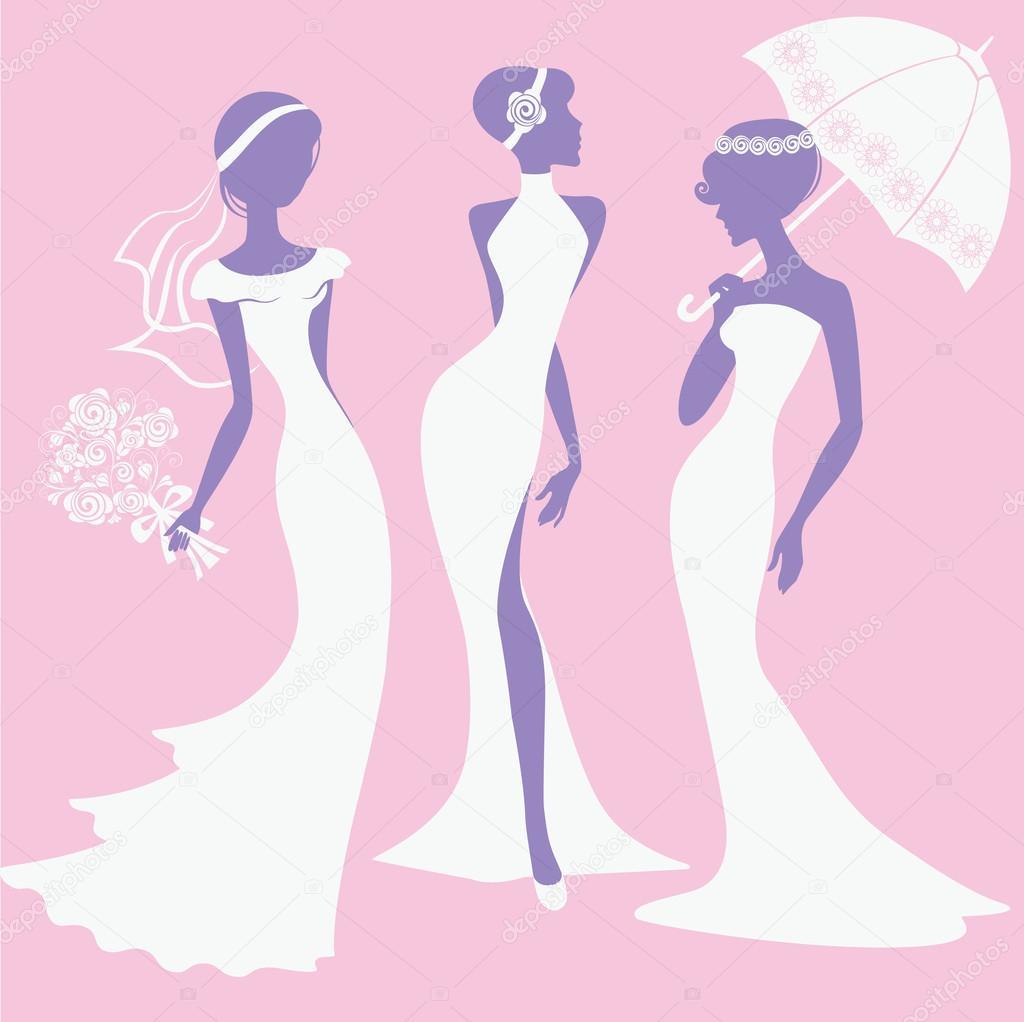 Siluetas en vestidos de novia — Archivo Imágenes Vectoriales ...