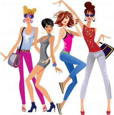Vector illustration of fashion funny girls isolated on white background stock vector