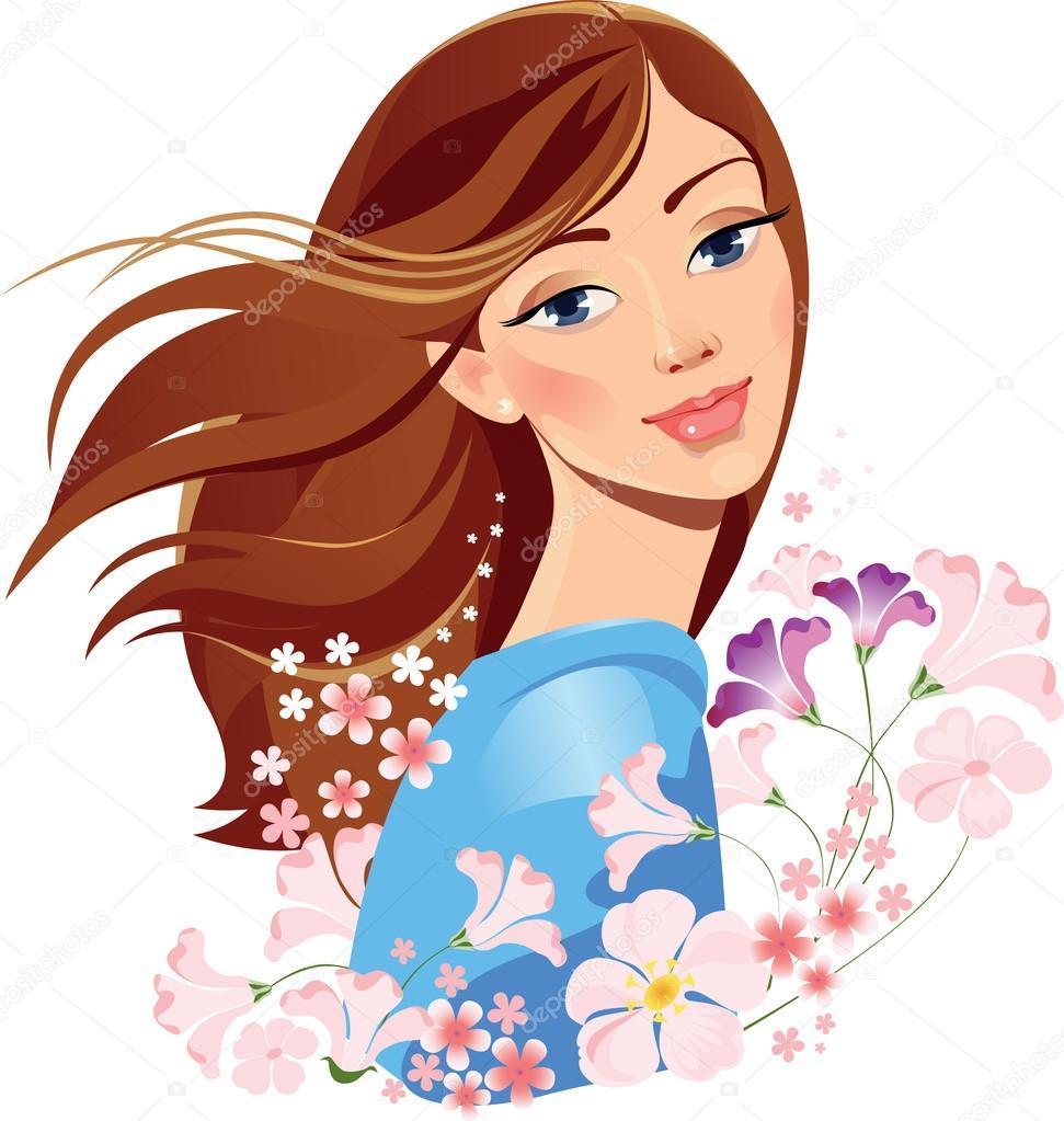 Картинки девушка весна нарисованные, самим