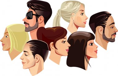 Men and women faces in profile