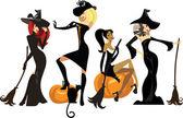 Fotografie různé čarodějky v šaty a klobouky s košťata