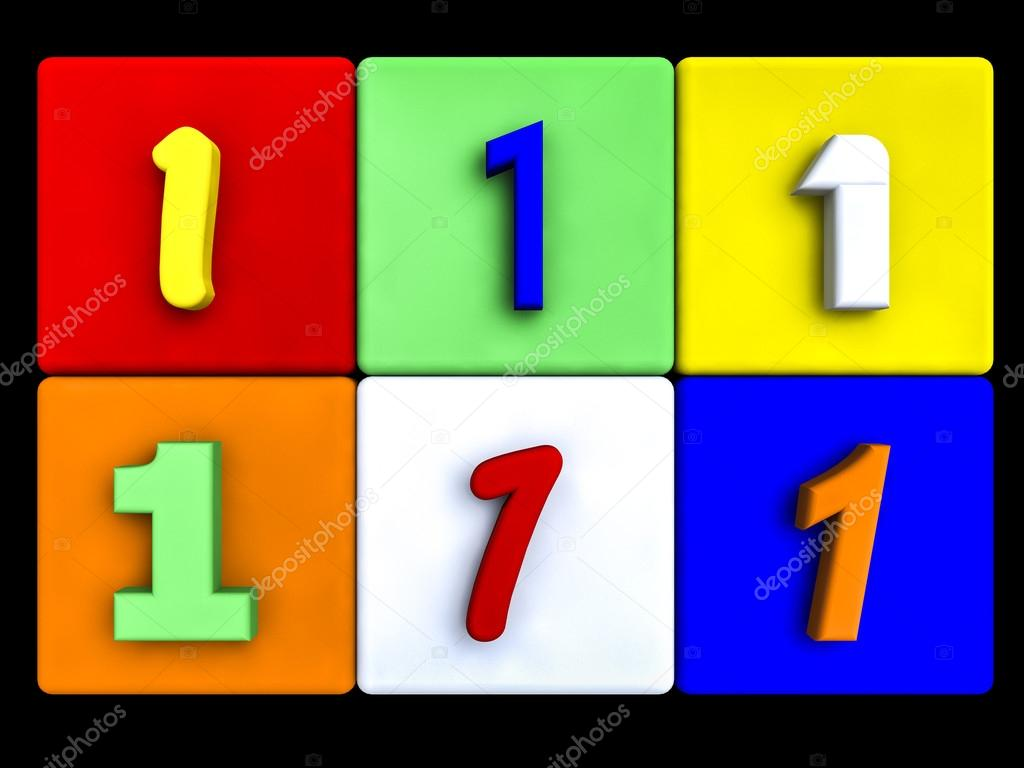 various numbers 1 on colored cubes — Stock Photo © fcw5 #69844877