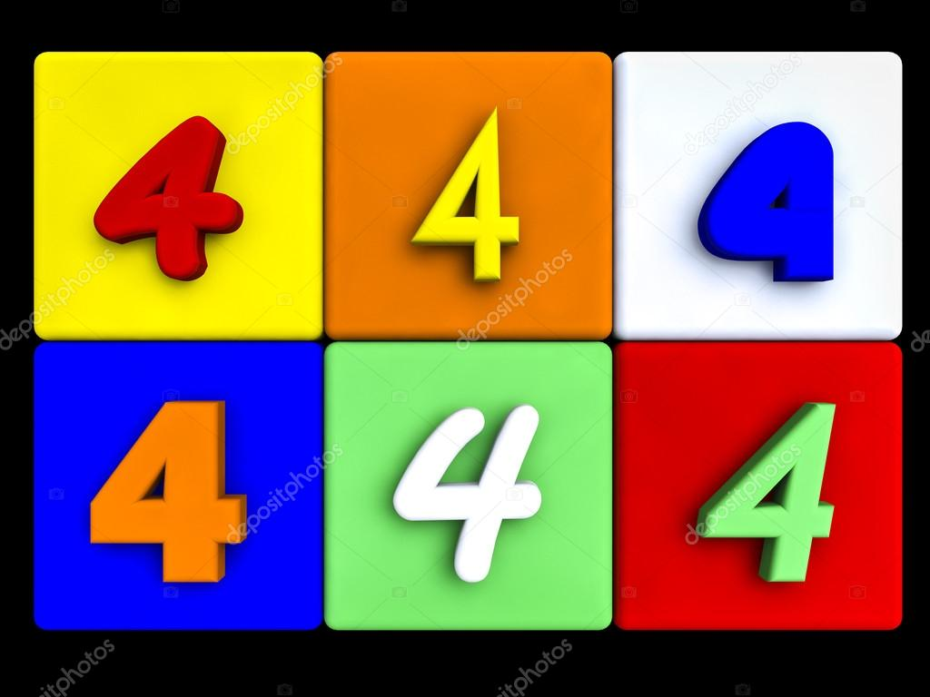 various numbers 4 on colored cubes — Stock Photo © fcw5 #69845017