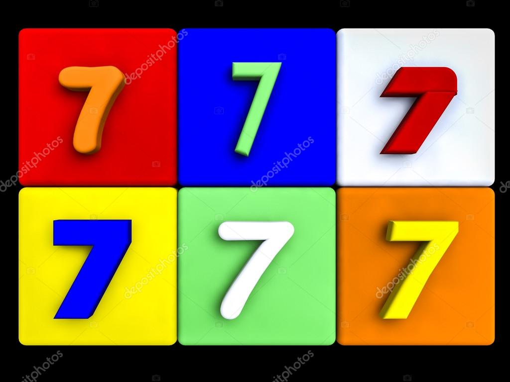 various numbers 7 on colored cubes — Stock Photo © fcw5 #69845101