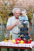 Fotografie Prarodiče drží jeho vnuk s bohatou úrodu této sezóny