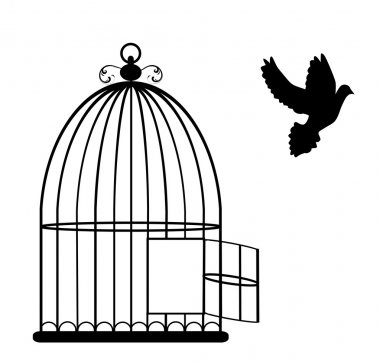 Vector illustration of a vintage card with cage open and dove flying stock vector