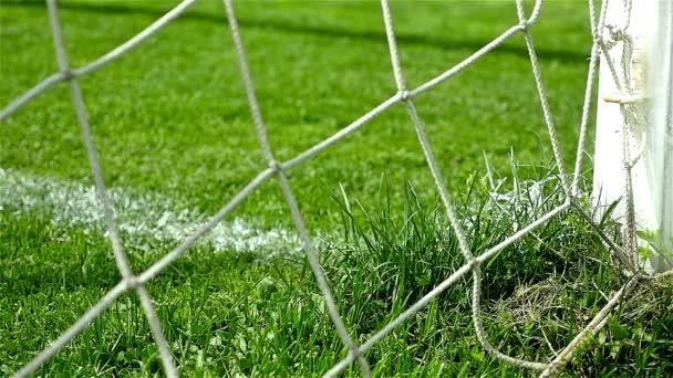 Slow Motion Von Fussballtor Fussball Kugel Ins Netz