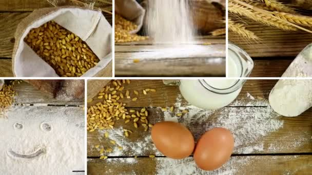 Montage collection of clips showing  sheaf of wheat ears, flour and bread on a wooden table