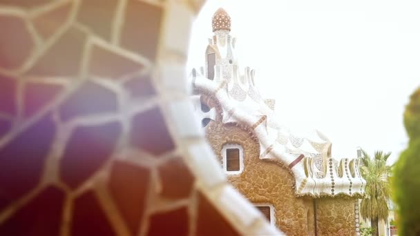 Details with Ceramic tiles and in Antoni Gaudis Park Guell, Barcelona, Spain