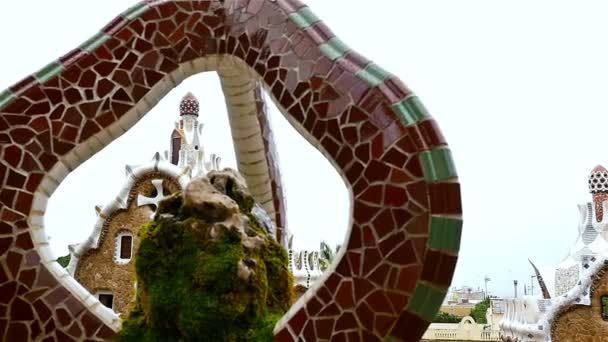 Details with Ceramic tiles and in Antoni Gaudi\'s Park Guell ...